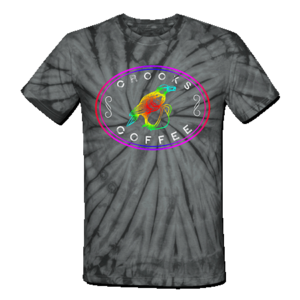 Crooks Coffee Rainbow Logo on Grey Tie Die T-Shirt
