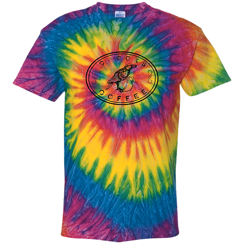 Crooks Coffee Black Logo on Rainbow Tie Dye T-Shirt Image