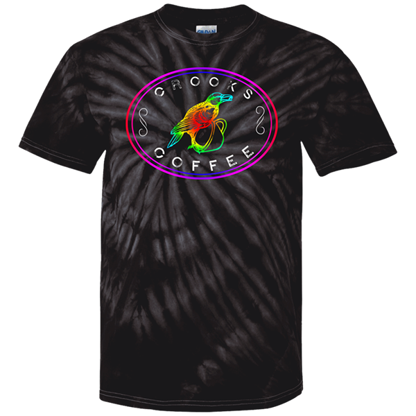 Crooks Coffee Rainbow Logo on Grey Tie Die T-Shirt Image